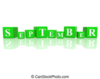 september in 3d cubes - 3d green cubes with letters makes...