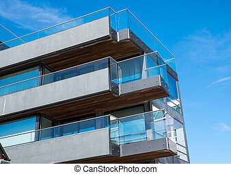 Modern building in Berlin - Modern apartment building with...
