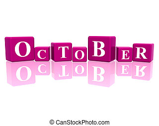 october in 3d cubes - 3d violet cubes with letters makes...