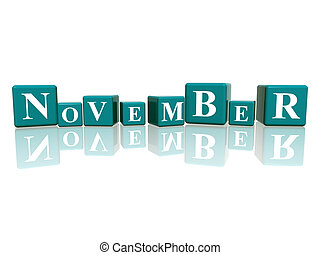 november in 3d cubes - 3d blue cubes with letters makes...