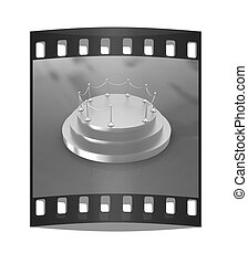 3D podium The film strip - 3D podium on red background The...