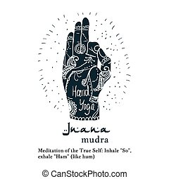 Element yoga jnana mudra hands with mehendi patterns. Vector...