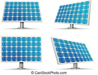 Solar Cell Panels - set of detailed illustration of a solar...