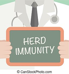 Herd Immunity - minimalistic illustration of a doctor...