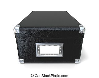 Black leather closed box. Front