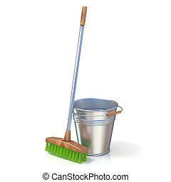 Cleaning equipment. Bucket and mop. 3D render isolated on...