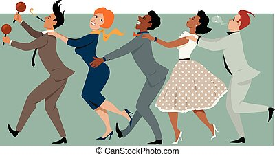 Party Conga - Diverse group of people dressed in late 1950s...