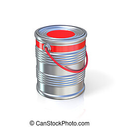 Metal tin can with red paint