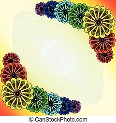 Rainbow flowers postcard