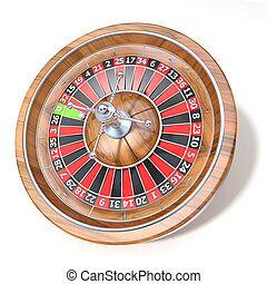 Roulette wheel. 3D render illustration isolated on white...