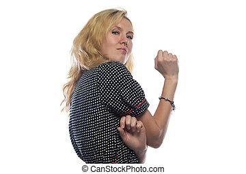 Photo of woman with blond hair, chin up on white background