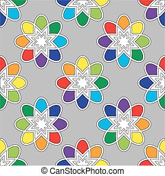 Flower seamless pattern bright colors Vector illustration