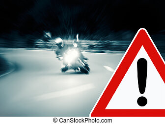 Caution - Motorcycling - Caution - Motorcyclist is taking a...