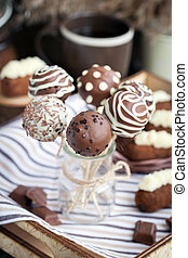 Homemade chocolate cake pops - candy sticks