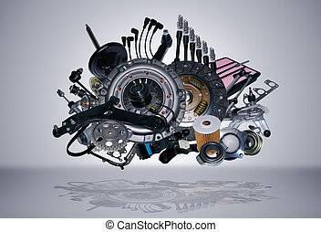 New spare parts - Many new spare parts for a car