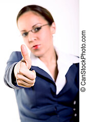 Hands - Young business woman expressing a positive attitude...
