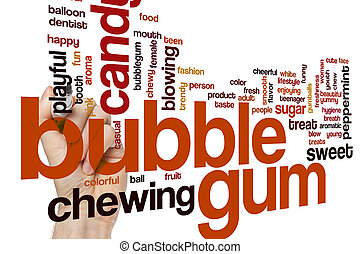 Bubble gum word cloud concept with candy chewing related...