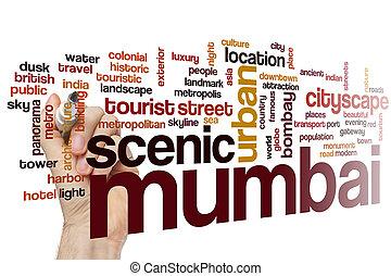 palavra, nuvem,  Mumbai