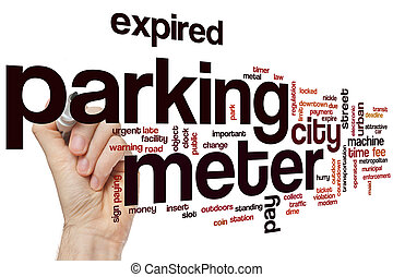 Parking meter word cloud concept with pay time related tags