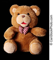 Bear - Brown teddy bear over black background Toy