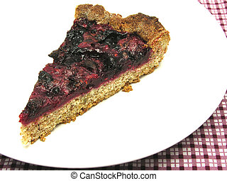 One piece of berry cake on a white plate