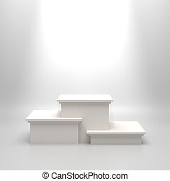Empty white podium - Empty white illuminated podium. Blank...