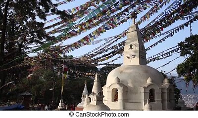 Stupa Nepalese and Tibetan flags in Kathmandu