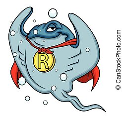 Powerful Superhero Stingray Character Vector Illustration