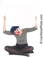 clown woman holding billboard