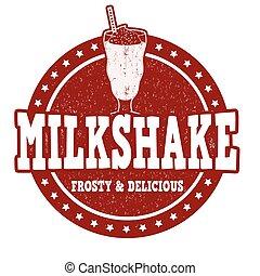 Milkshake stamp - Milkshake grunge rubber stamp on white...