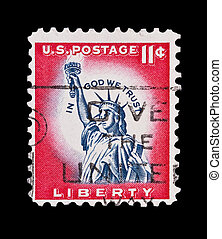 liberty - UNITED STATES: liberty statue 11 cent mail stamp,...