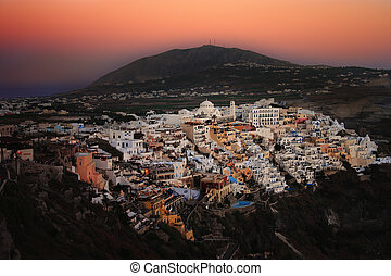 Sunset over Fira, Santorini - A view of Fira, the main town...