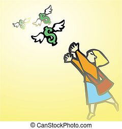 Woman Chasing Money - Business woman chases winged money...