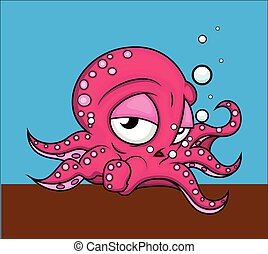 Depressed Octopus Character - Depressed Octopus Animal...