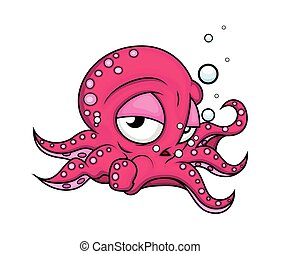Tired Cartoon Octopus Animal Character Vector Illustration