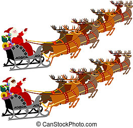santa sleigh reindeer - Santa with Sleigh and Reindeer,...