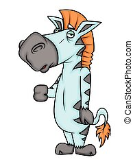 Lazy Cartoon Zebra Character Vector Illustration