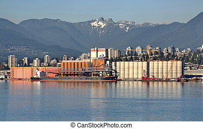 North Vancouver Port - The ship under loading in the port of...