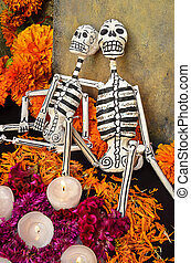 Mexican day of the dead offering (Dia de Muertos) -...