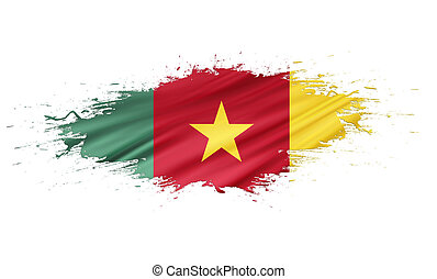 Cameroon - splashes with Flag abstract background