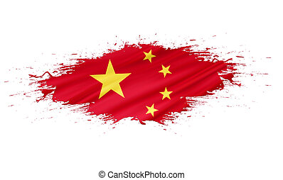 China - splashes with Flag abstract background