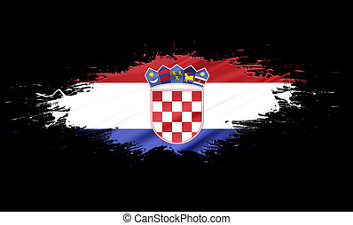 Croatia - splashes with Flag abstract background