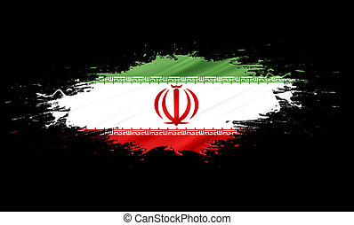 Iran - splashes with Flag abstract background