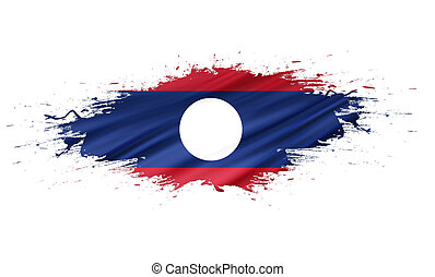 Laos - splashes with Flag abstract background