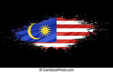 Malaysia - splashes with Flag abstract background