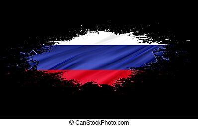 Russia - splashes with Flag abstract background