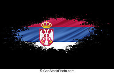 Serbia - splashes with Flag abstract background