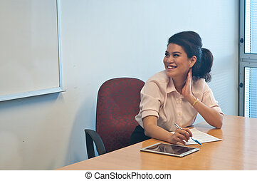 Business woman listen to other colleagues talking