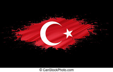 Turkey - splashes with Flag abstract background