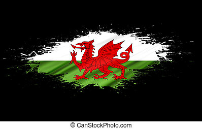 Wales (UK) - splashes with Wales (UK) Flag abstract...